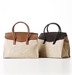MAURO GOVERNA(マウロ・ゴヴェルナ)<br>SILK CALF×LINEN LARGE FRAP TOTE BAG