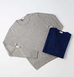 HERITAGE(ヘリテージ)<br>SILK/CASHMERE CABLE CREW-NECK KNIT